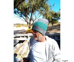 BONNET LAINE BLANC DESSIN GRIS